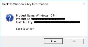 Systémový dialog s produktovým klíčem, ID a jménem Windows