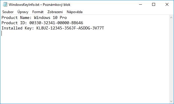 ...a uložené v podobě textového souboru WindowsKeyInfo.txt