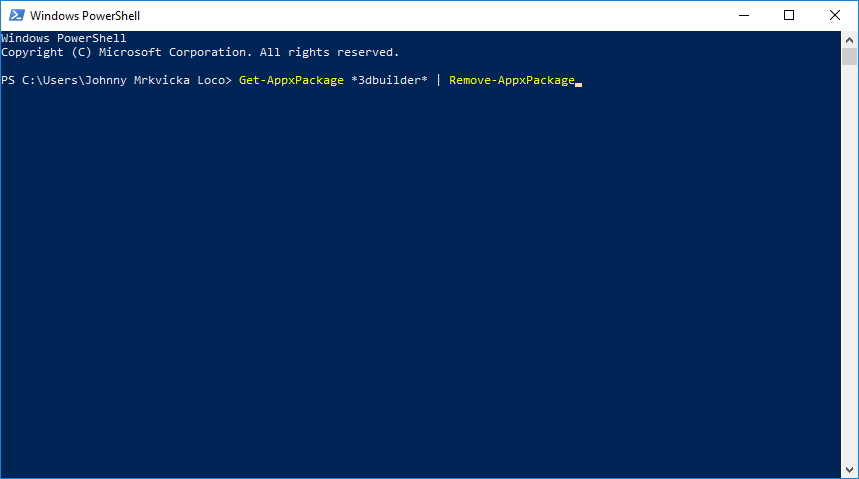 Odinstalace systémových aplikací vyžaduje příkazy přes Windows PowerShell