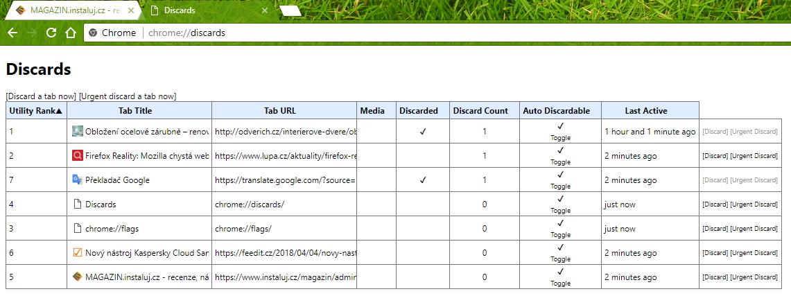 Na chrome://discard se můžete podívat na stav zahazování paměti webů - a urychlit ho