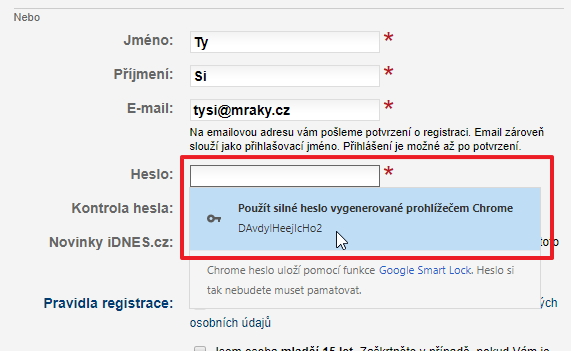 Když už si Chrome pamatuje hesla, proč by neměl i sám vytvářet?
