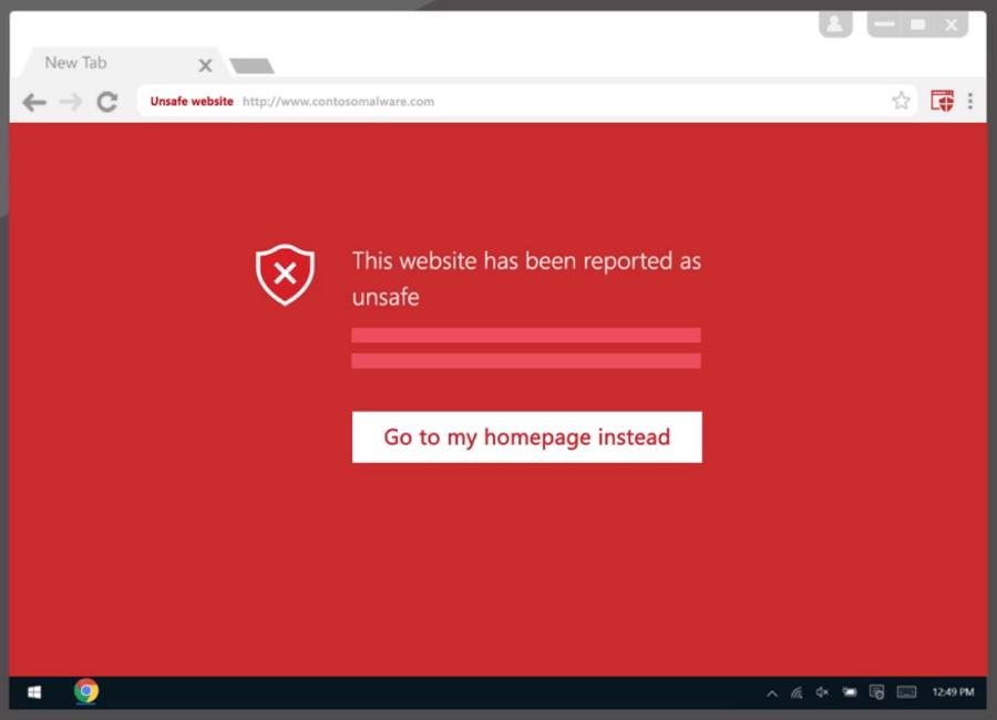 Windows Defender Browser Protection při akci v Chrome (Zdroj: Microsoft.com)
