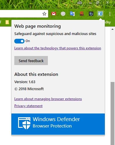 Podoba okýnka Windows Defender Browser Protection přímo v Chrome
