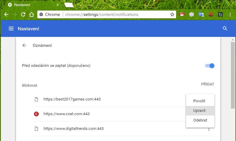 Oznámení Chrome najdeme pod Nastavení - Rozšířená nastavení - sekce Ochrana soukromí a zabezpečení - položka Nastavení obsahu - Oznámení či rovnou pod odkazem chrome://settings/content/notifications