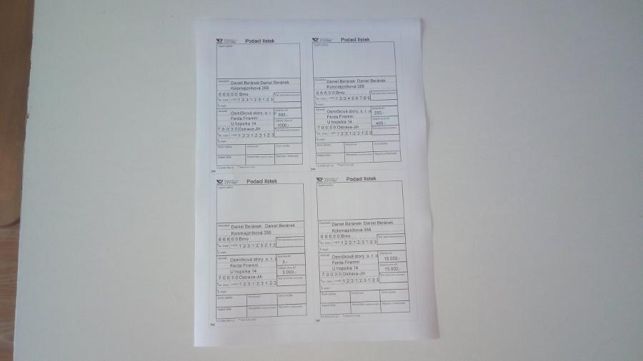 A tady máme 4 podací lístky na jedné A4