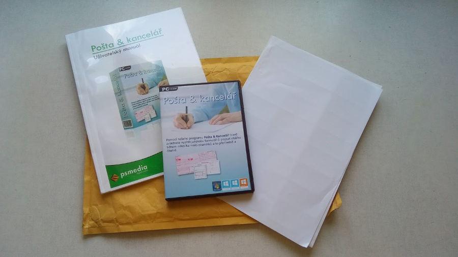 Zásilka programu Pošta a kancelář vč. uživatelského manuálů a 2 archů samolepicích štítků