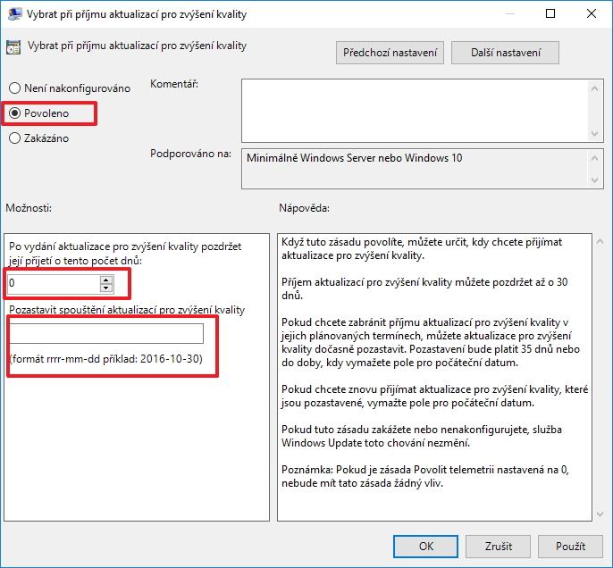 Na nedomácích edicích Windows lze také využít Editor místních zásad skupiny