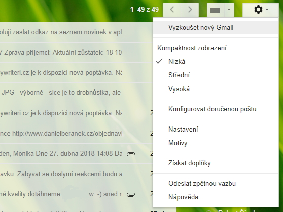 V Nastavení vybereme Vyzkoušet nový Gmail