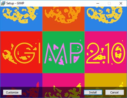 Veselé instalační okno GIMPu 2.10