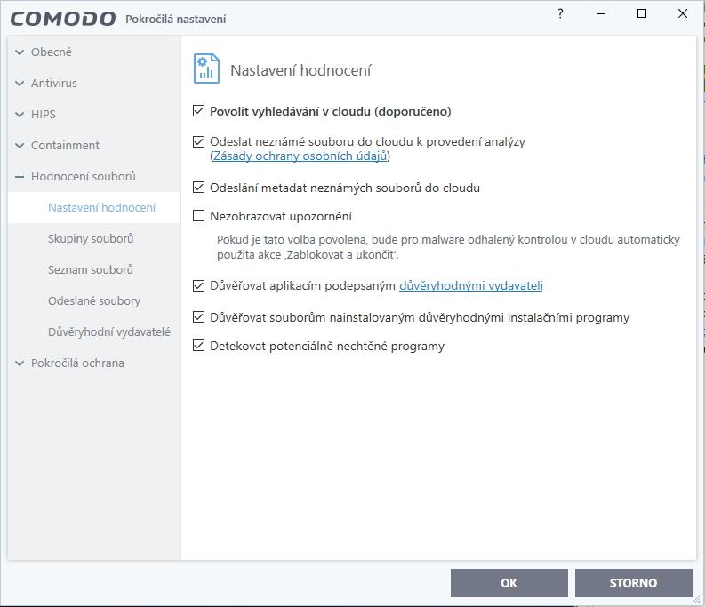 Prokliknutelná nastavení modulů doplňuje jen několik smysluplných položek
