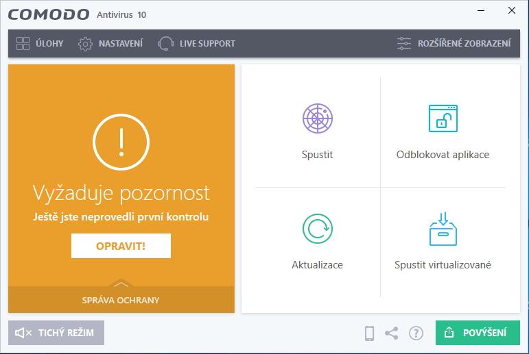 Comodo Antivirus si po instalaci, aktualizaci databáze virových definic a první kontrole vyžádá restart