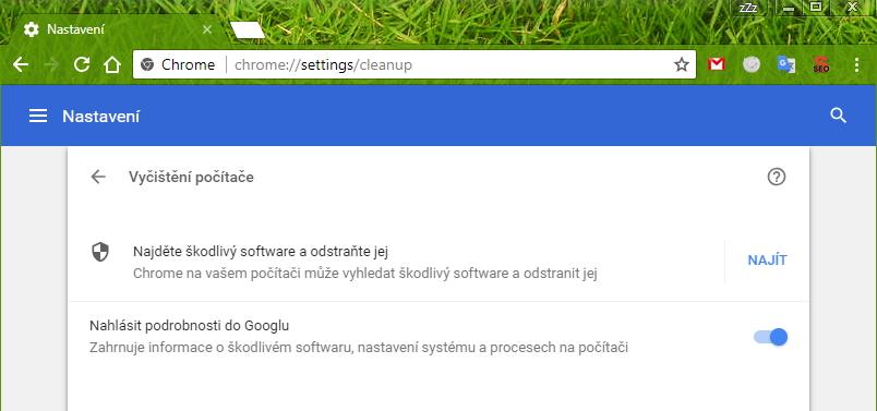 Sken Chrome Cleanup vyvoláme na požadavek chrome://settings/cleanup zadaný do adresního řádku