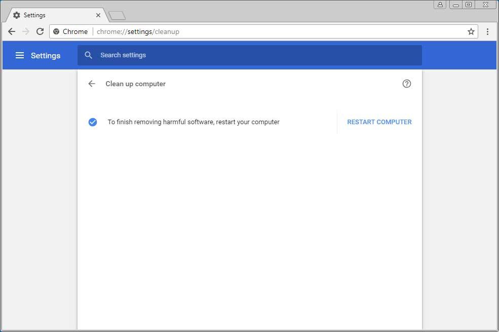 Po odstranění zákeřného softwaru pomocí Chrome Cleanup je třeba restartovat počítač (Zdroj: Bleepingcomputer.com)