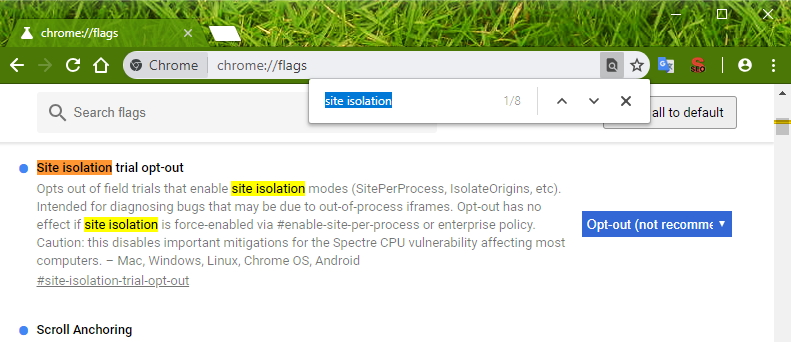 Vypnutí funkce Site Isolation v chrome://flags - Site Isolation trial opt-out