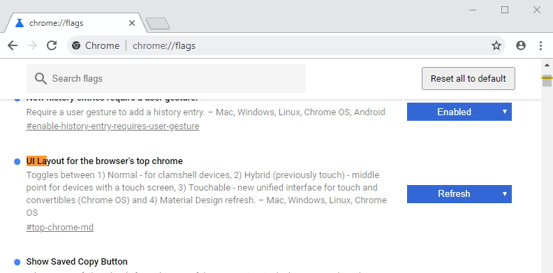 Nový vzhled zapnete pod chrome://flags/ - UI Layout for the browser's top chrome - Refresh