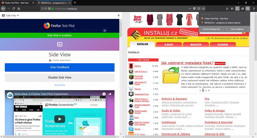 Rozšíření Side View pohled na panel rozpoltí zobrazením dvou webů současně