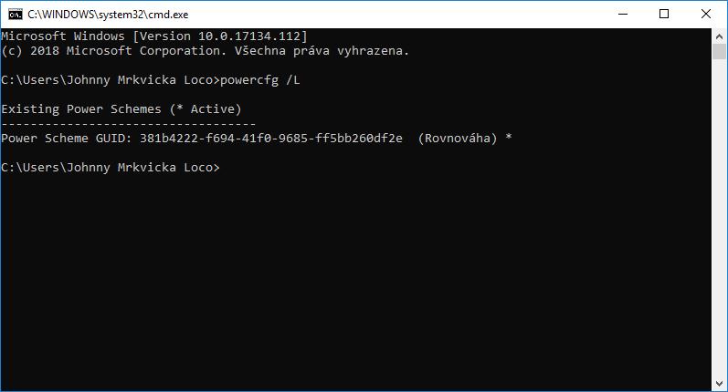 Špičkový výkon nenajdete ani v Možnostech napájení, ani ve výpisu příkazu powercfg /L