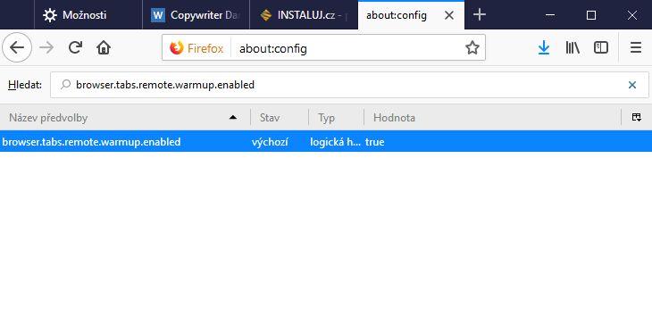 Pokud by vám předehřívání panelů nesedělo, můžete ho vypnout v about:config - browser.tabs.remote.warmup.enabled