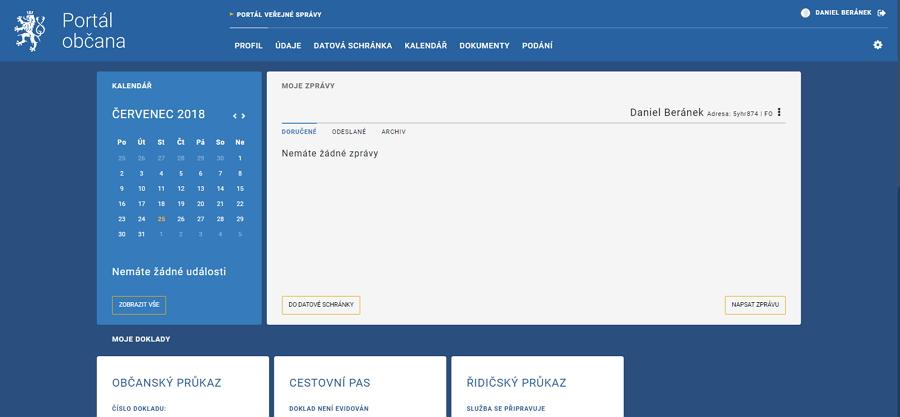 Hlavní obrazovka Portálu občana odkazuje všechny důležité podsekce