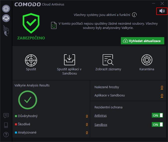 Výchozí obrazovky Comodo Cloud Antivirus