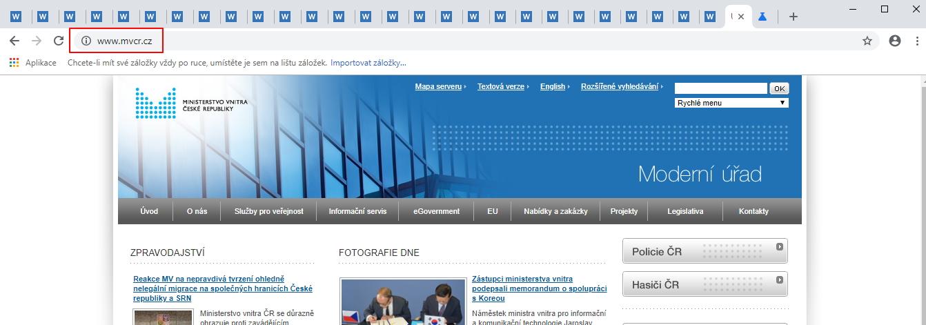 I populární nezabezpečené weby, jako je ten Ministerstva vnitra ČR, už nehyzdí označení Nezabezpečeno