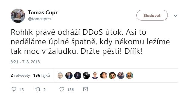 Tomáš Čupr vidí lepší stránku věci: konkurence je zoufalá, a proto sahá k těmto prostředkům