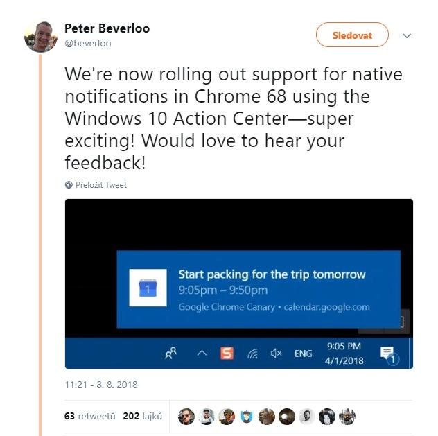 Petera Beverloo: Právě jsme implementovali podporu nativních notifikací v Chrome 68 pro Centrum akcí Windows 10 - což je super bomba! Už se těšíme na vaše reakce!