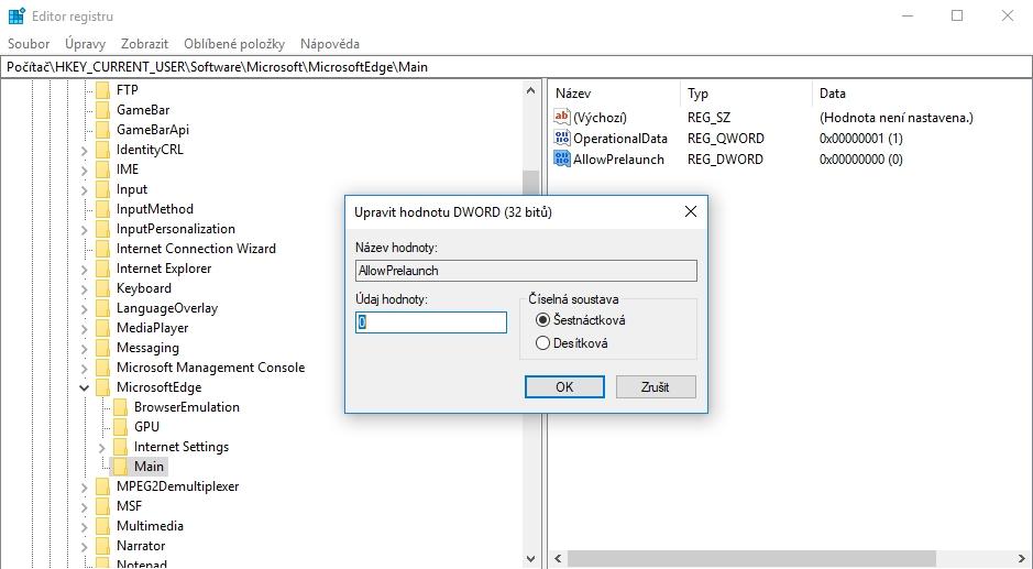 V HKEY_CURRENT_USER\Software\Policies\Microsoft\MicrosoftEdge\Main je třeba položku AllowPrelaunch nastavit na 0