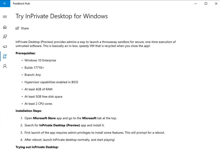 Informace o InPrivate Desktop v prostředí aplikace Feedback Hub