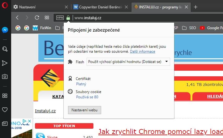 Bezpečnostní informace o konkrétním webu, jak je známe i z jiných prohlížečů