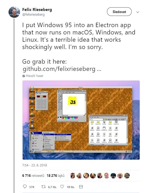 Vytvořil jsem z Windows 95 aplikaci na frameworku Electron. A tu je možno spustit na macOS, Windows a Linuxu. Je to hrozivý nápad, který funguje až k úleku dobře. Velmi se omlouvám, říká s šibalským úsměvem Felix Rieseberg