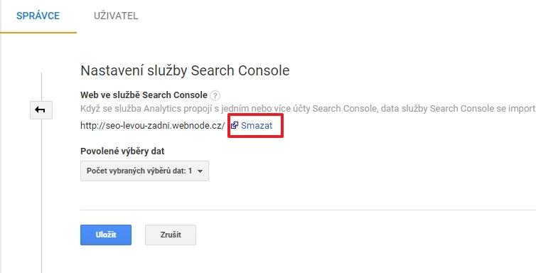 A pokud už víte, kudy vede cesta, Search Console z Analytics snadno odstraníte