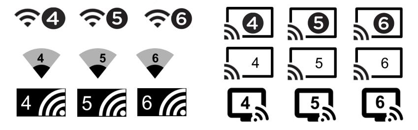 Návrhy použití ikonografie nového označení Wi-Fi standardů (Zdroj: wi-fi.org)