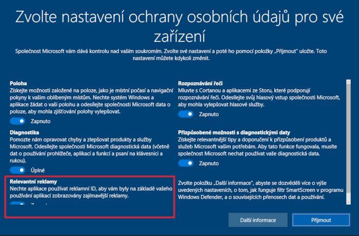 Při přeinstalaci Windows v nastavení ochrany osobních údajů - v sekci Relevantní reklamy - zvolte Vypnuto