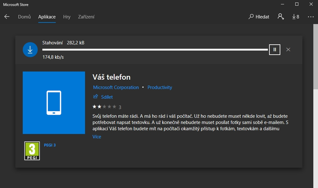 Nejprve je třeba nainstalovat aplikaci Váš telefon z Microsoft Store