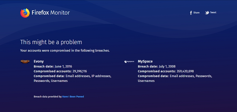 Firefox Monitor: zjistí možné případy kompromitace uživatelských údajů