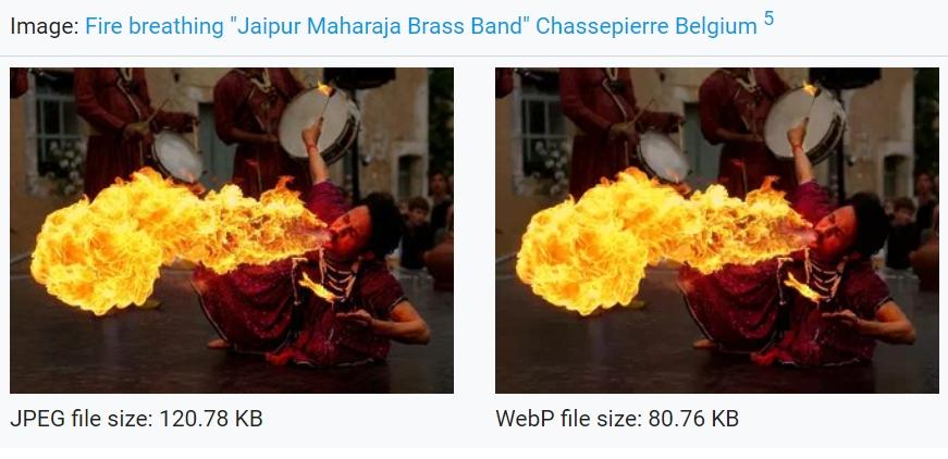 Úspora třetiny dat na při zobrazení fotky Fire breathing od Luca Viatoura ve formátu WebP místo JPEG (Zdroj: Wikimedia.org)