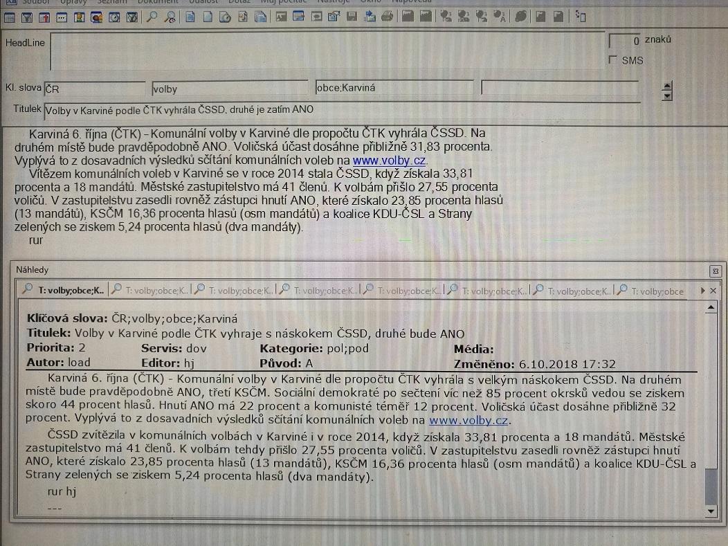 Zpráva typu fleš v automaticky generované podobě a po zásahu lidského editora (Zdroj: ČTK)