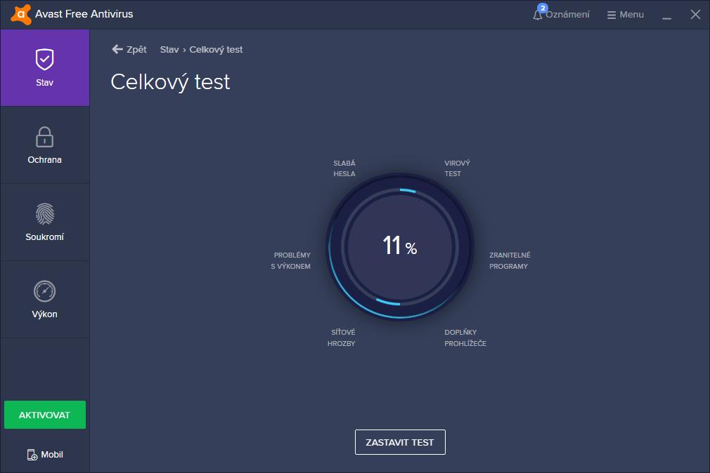 Celkový test optimalizoval parciální testy a dosáhl tak dvojnásobné rychlosti