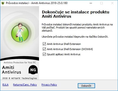 Amiti Antivirus: kapku nesmyslné volby instalace