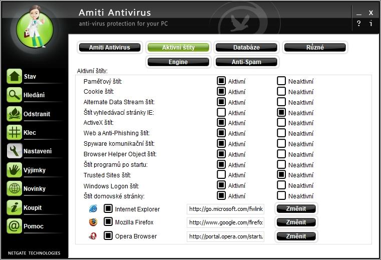 Amiti Antivirus: přehled štítů