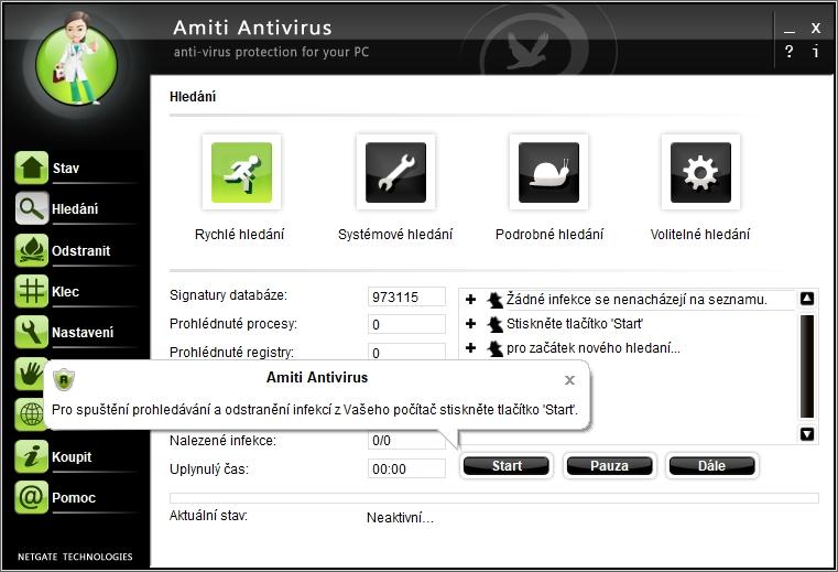 Už design výchozí obrazovky Amiti Antiviru dává znát, že aktuálnost produktu se tady neřeší