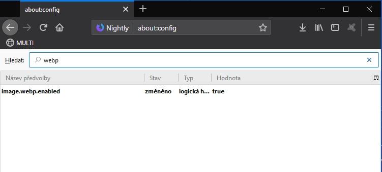 Změna nastavení položky image.webp.enabled v about:config Firefoxu Nightly