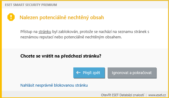 Ukázka upozornění na nebezpečný web
