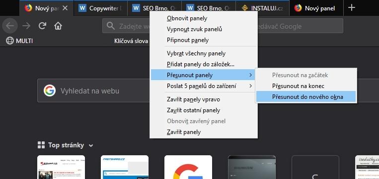 Firefox 64 usnadní práci s vícero panely