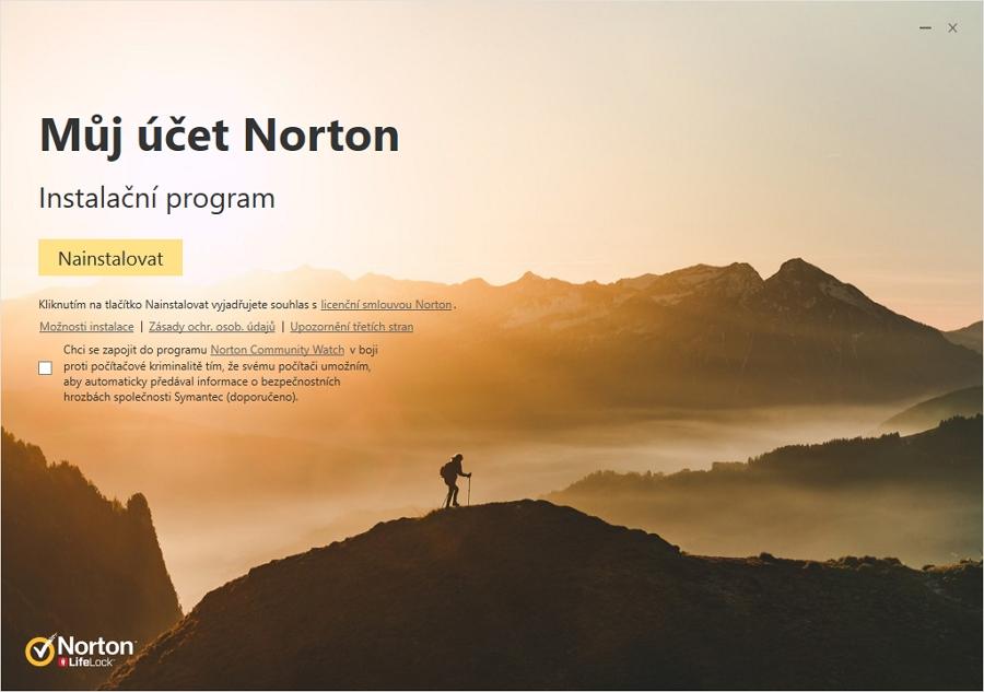 Norton Security Premium: už při instalaci je znát, že produkt vyžaduje online účet u Nortonu