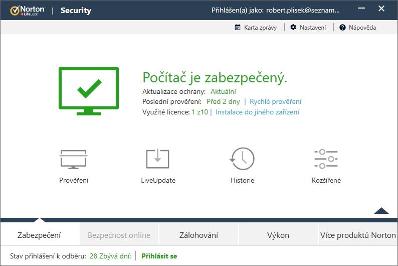 Sekce Zabezpečení kapku kontraintuitivně obsahuje LiveUpdate a Historii funkcí aplikačního balíku