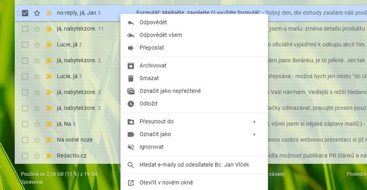 Kontextová nabídka v nové podobě Gmailu - více položek, více možností usnadnění práce s emaily