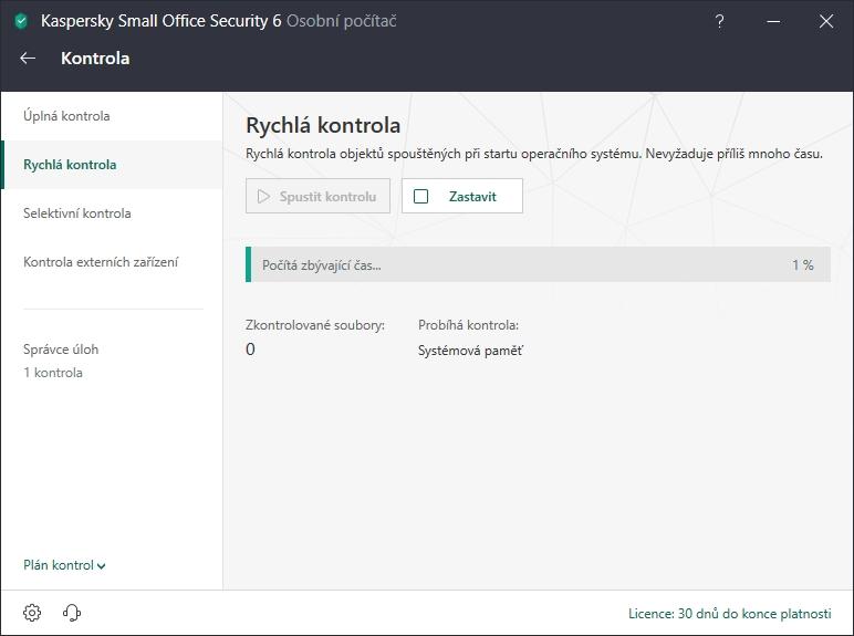 Kaspersky Small Office Security: klasická nabídka on-demand skenů