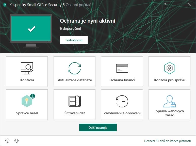 Kaspersky Small Office Security: výchozí obrazovka už snad ani nemůže být designově čistší